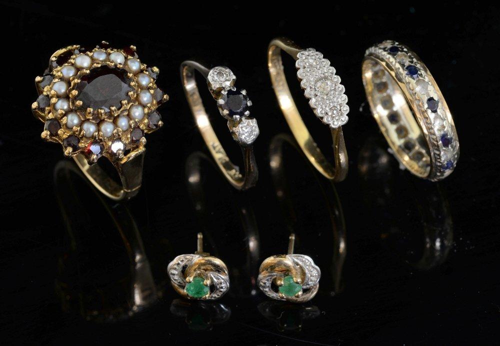 Four gem set rings, Edwardian oval plaqu