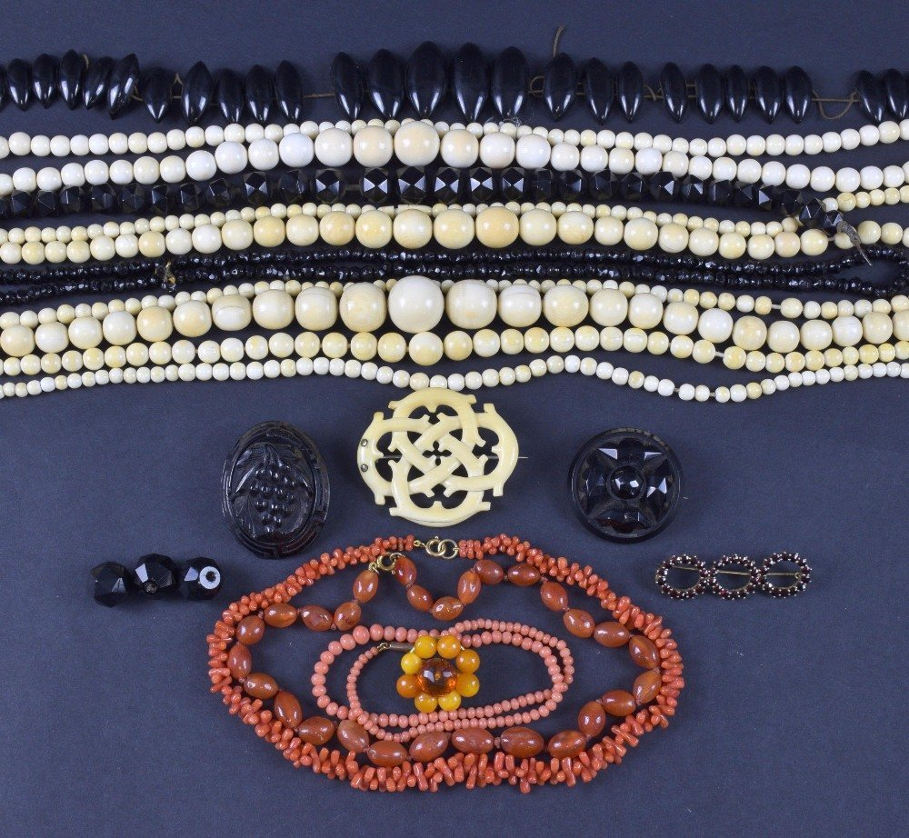 Victorian ivory bead necklaces , jet and