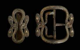 Two snake belt buckles of cast iron inl