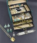 Collection of costume jewellery in a jew