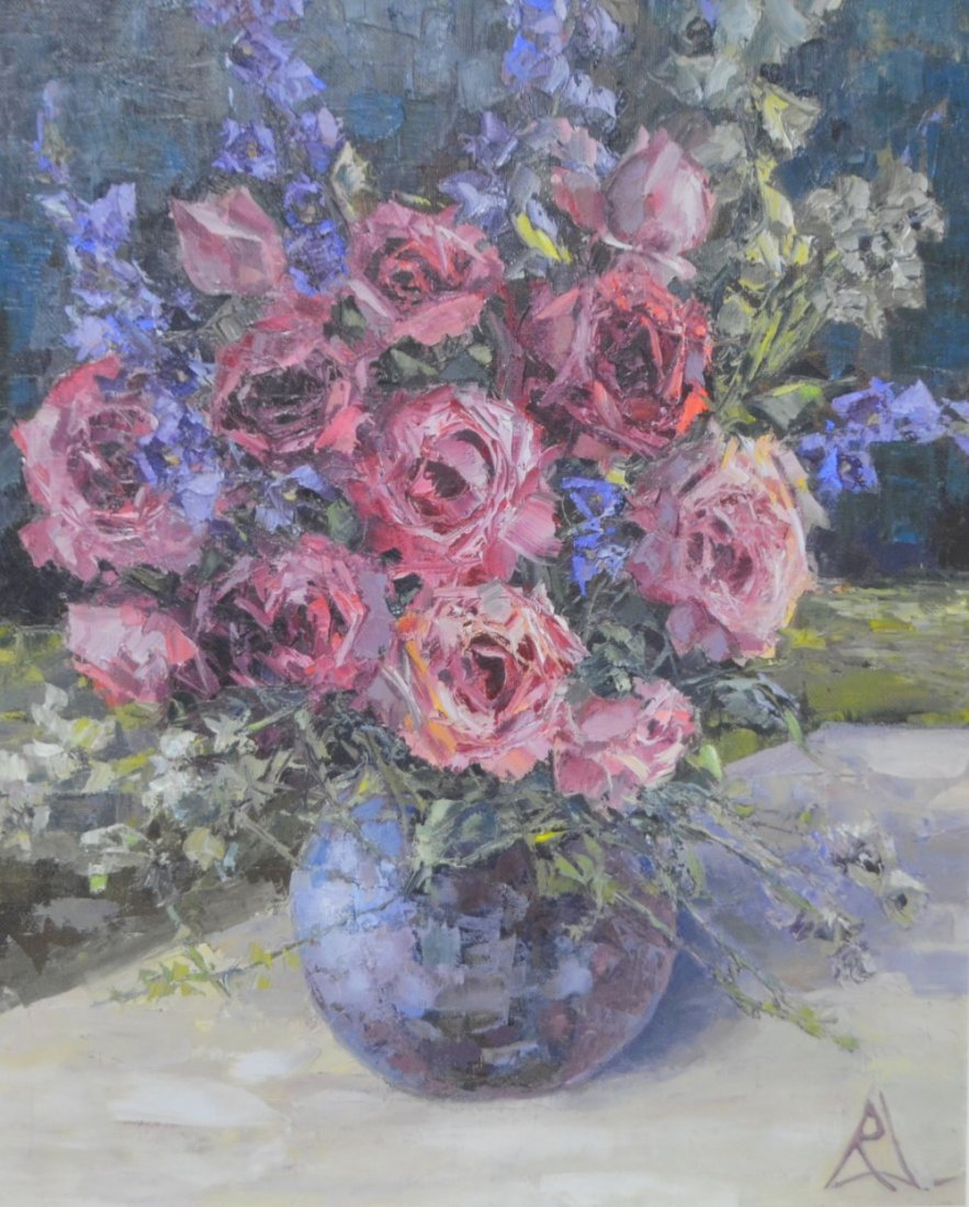 Still life, Pink roses, Oil on canvas, S