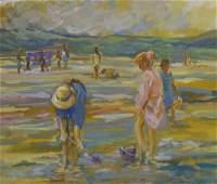 Gouache, Children on a Beach, ( In the m