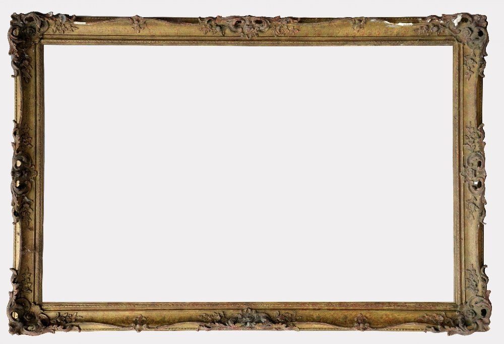 Gilt wood and gesso picture frame with scrolling a