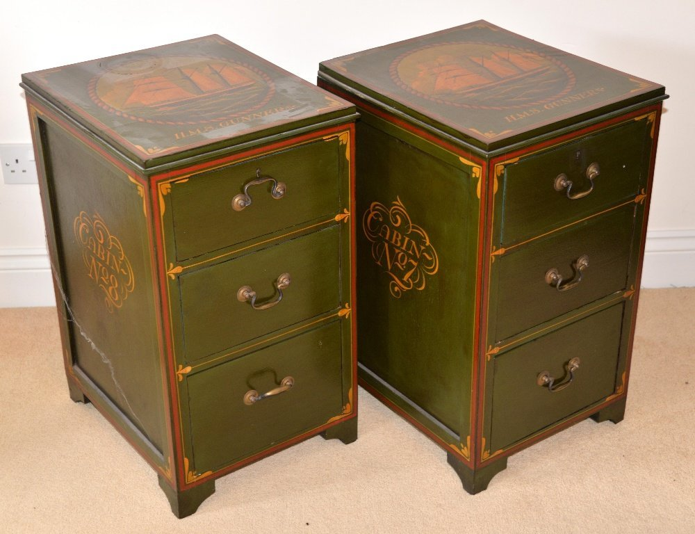 Pair of green, red and gilt decorated filing cabin