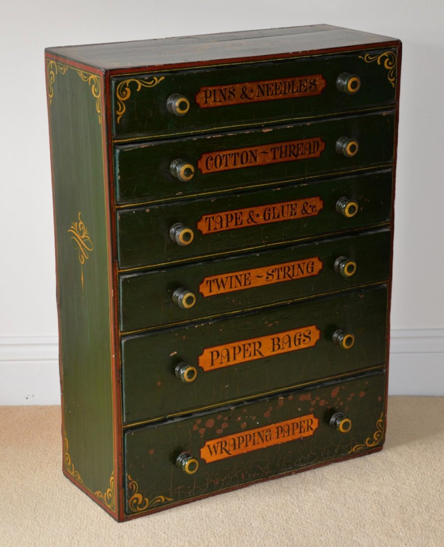 Green, red and gilt decorated six drawer chest, ea