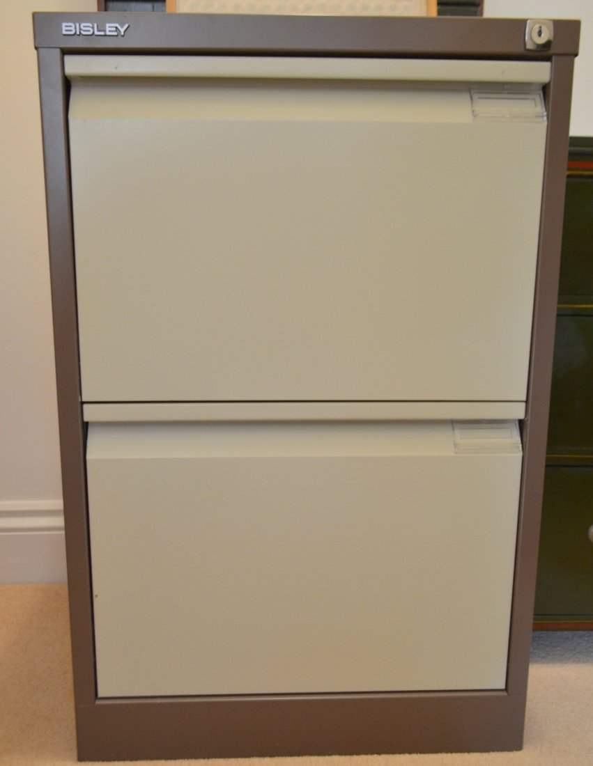 Metal two drawer filing cabinet,