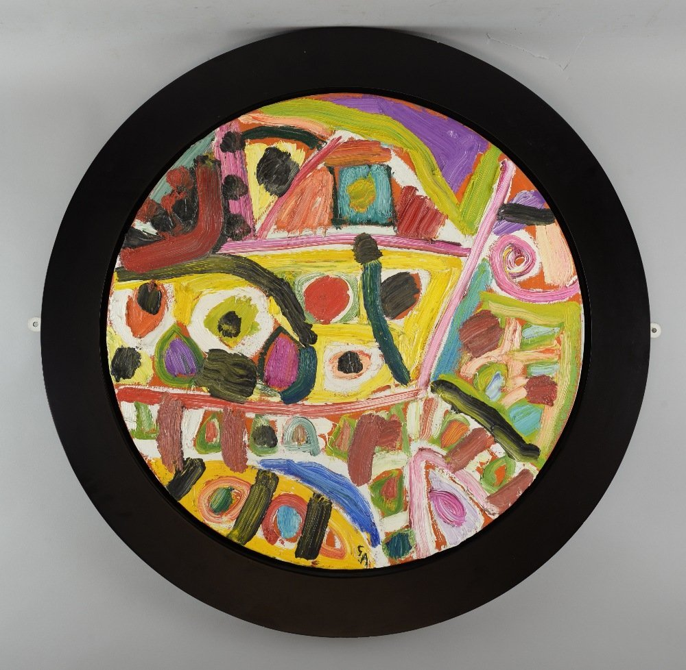 Gillian Ayres b.1930, 'Lundi', tondo 60.5cm diameter,