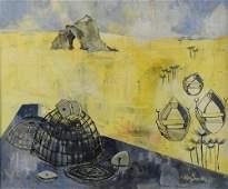 Michael Morgan, (1928-2014), Lobster pots on a beach,