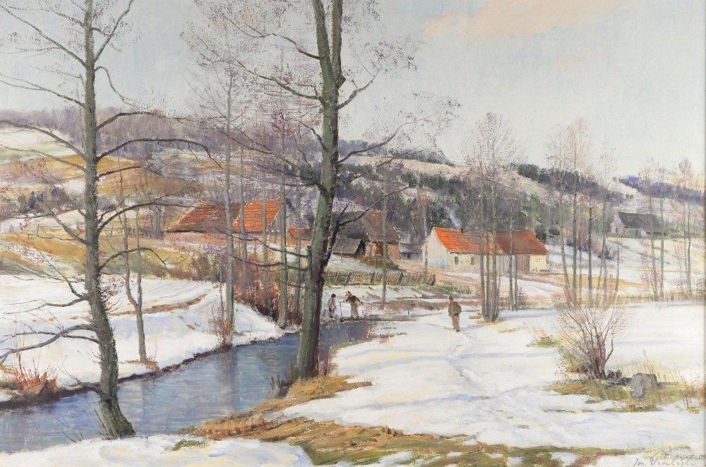 J Prochazka, 'Walking in the snow', oil on canvas,