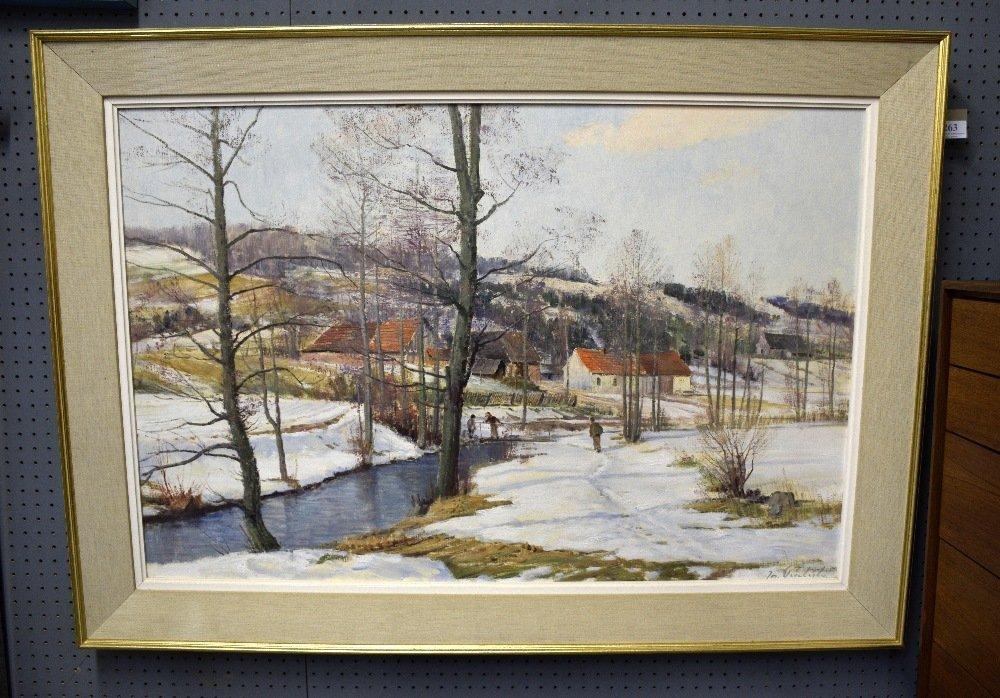 J Prochazka, 'Walking in the snow', oil on canvas, - 6