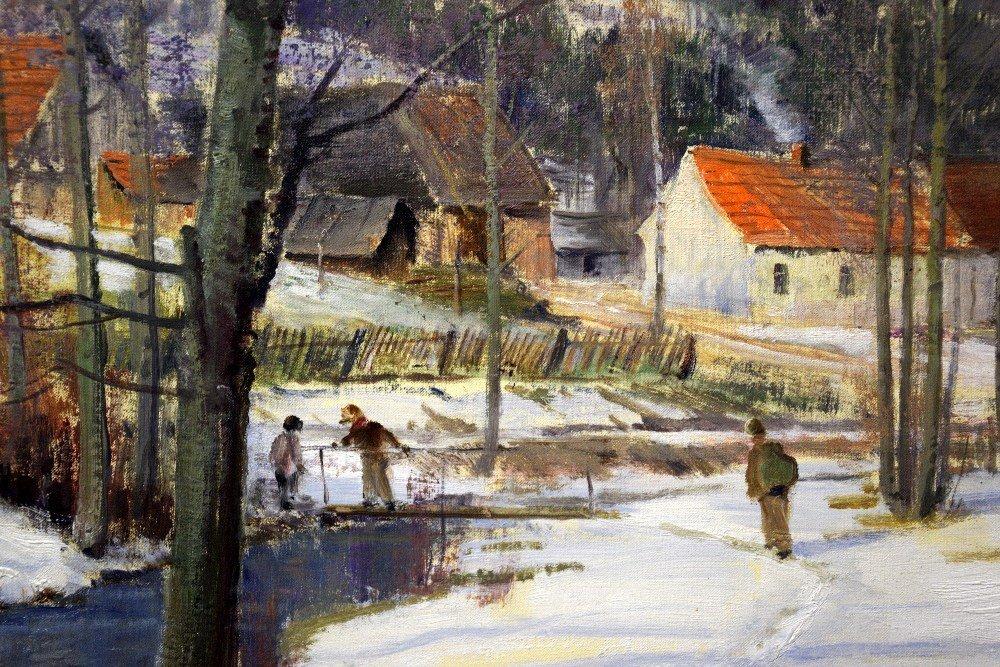 J Prochazka, 'Walking in the snow', oil on canvas, - 7