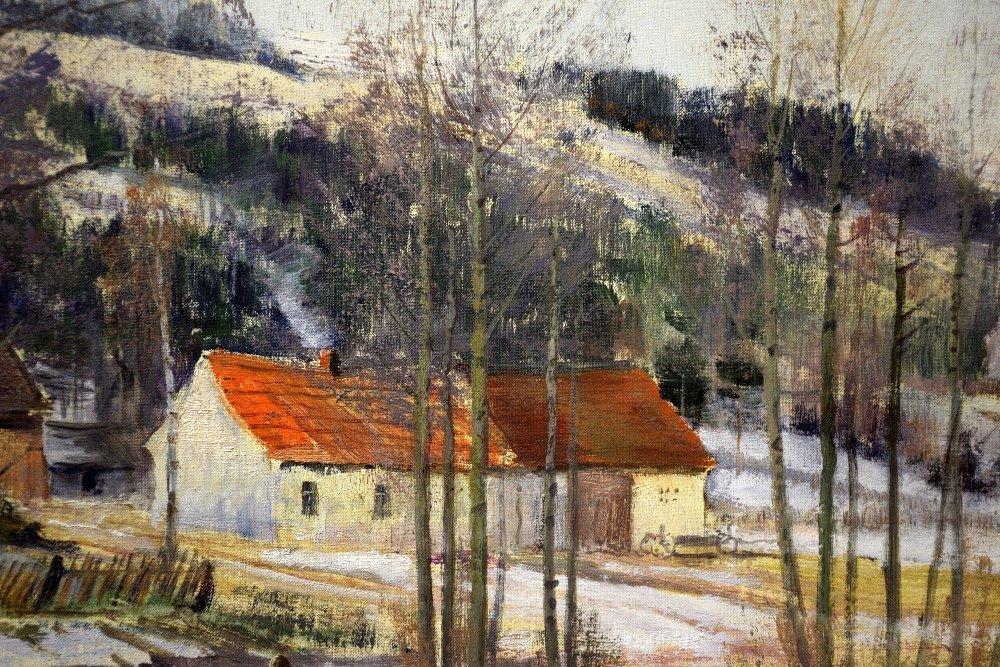 J Prochazka, 'Walking in the snow', oil on canvas, - 8