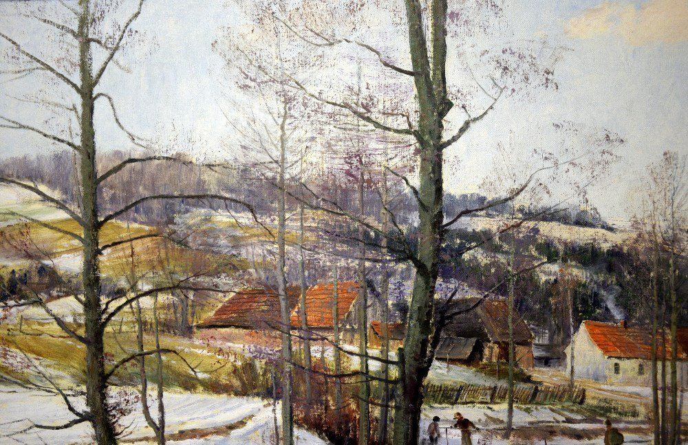 J Prochazka, 'Walking in the snow', oil on canvas, - 9
