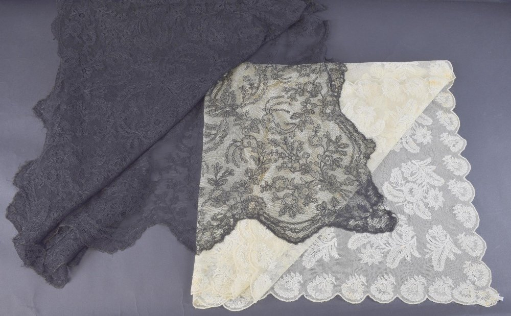 Large black lace shawl, with central motif and corners