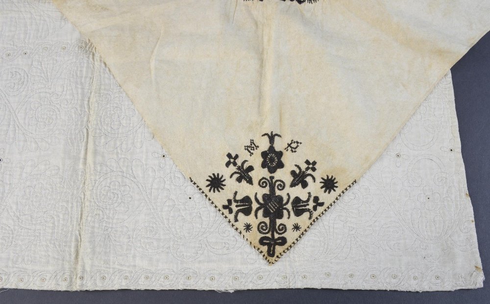 Queen Anne period quilted  fragment,  quilting in the - 2