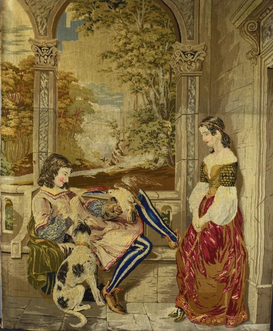 Large  Victorian woolwork picture, entitled 'Jealousy'