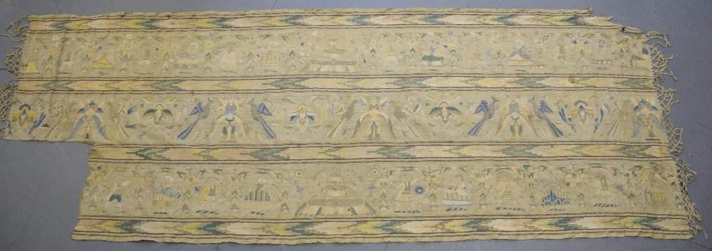 Spanish alter cloth, mid  17th C, linear design of - 3