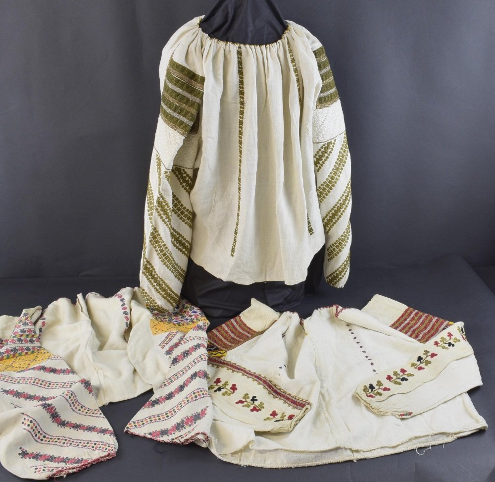 Three Romanian embroidered blouses, late 19th to early