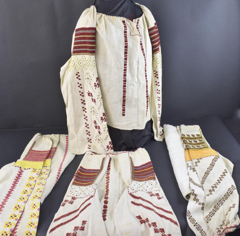 Four traditional Romanian blouses, late 19th to early