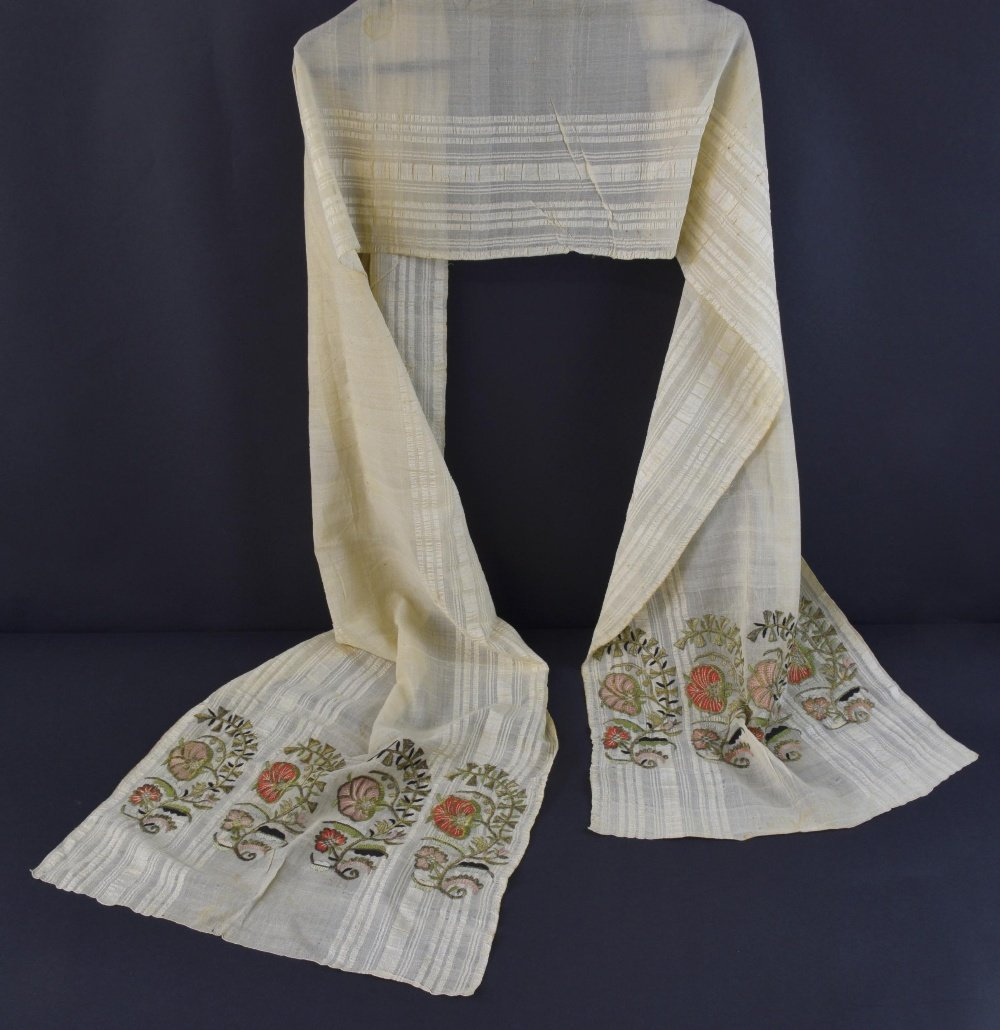 19th C Armenian embroidered towel, each end with repeat