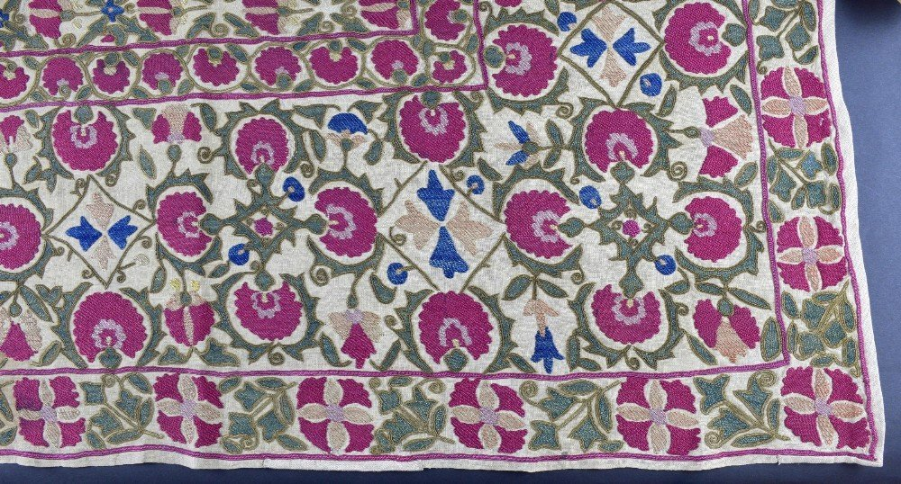 Suzani, west Turkistan, early 19th C, finely stitched - 2