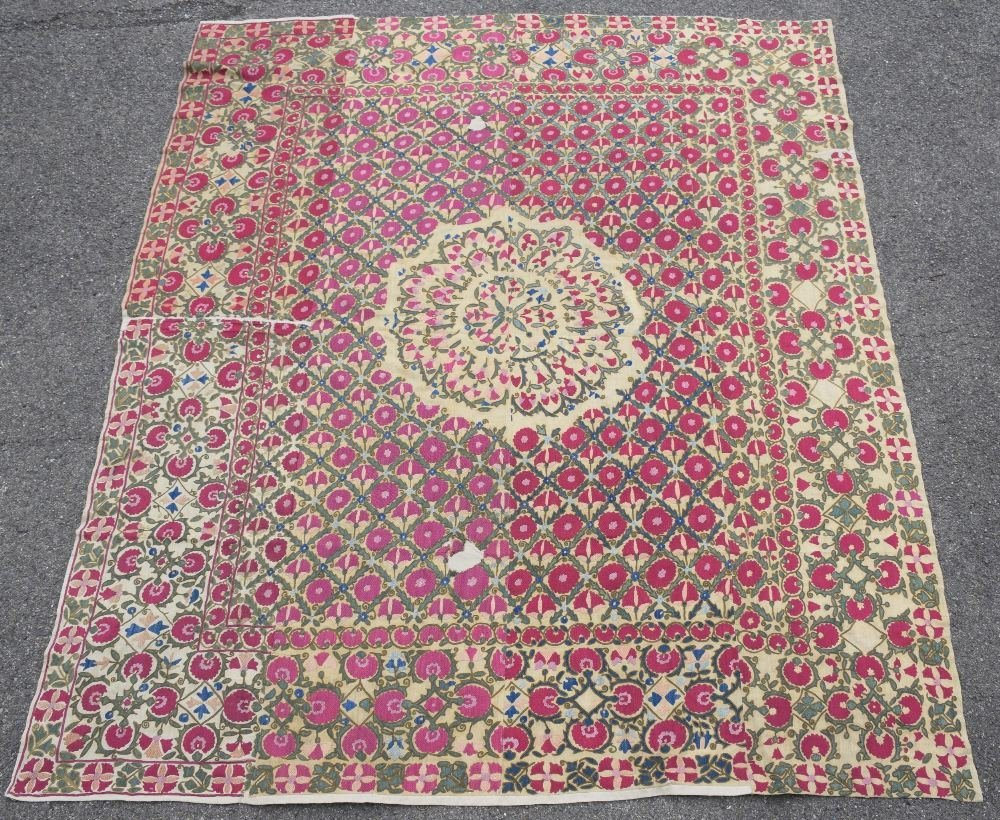 Suzani, west Turkistan, early 19th C, finely stitched - 3