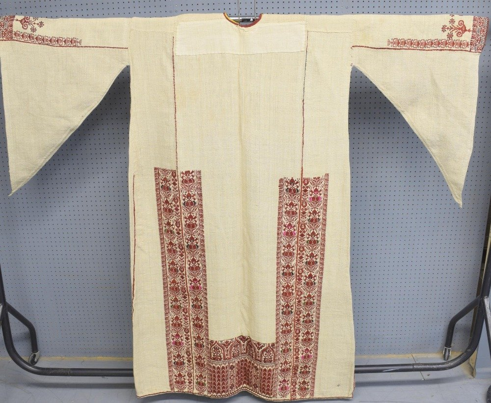 Two 19th C Palestinian male robes, one of hand woven - 4