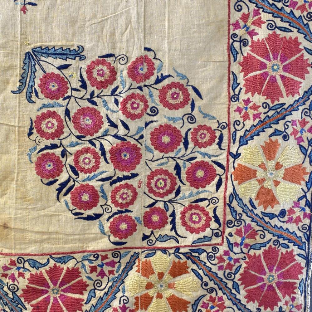 A fine 19th C  Central Asian Suzani bochara, made up of