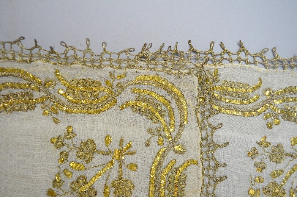 Ottoman head scarf, cream muslin, with embroidery of - 2