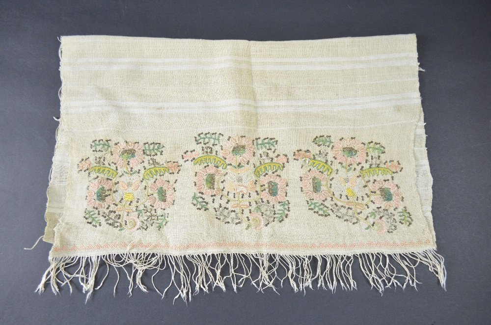 Ottoman head scarf, cream muslin, with embroidery of - 3