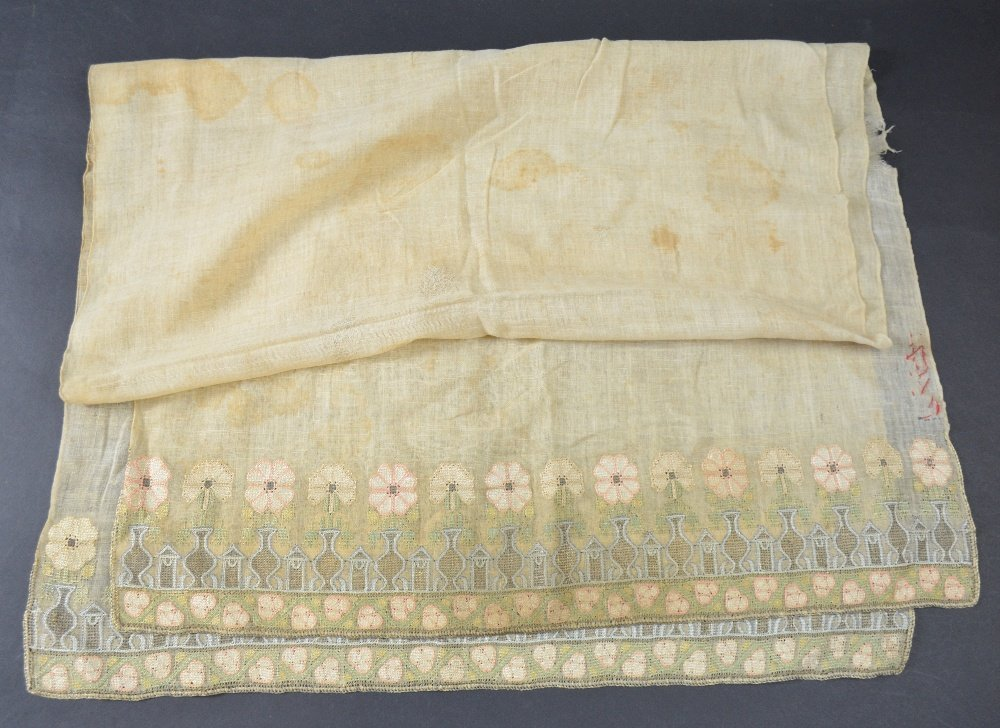 Ottoman head scarf, cream muslin, with embroidery of - 4
