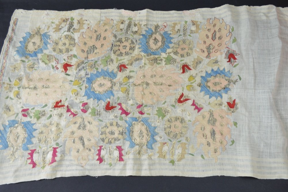 Ottoman head scarf, cream muslin, with embroidery of - 5