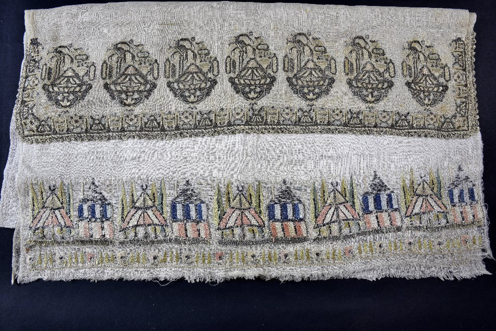 Two unusual Ottoman embroidered towels, one with a