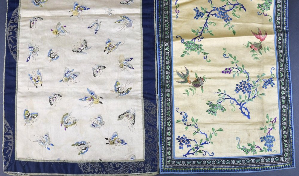 Two Chinese embroidered panels C 1900, one on cream