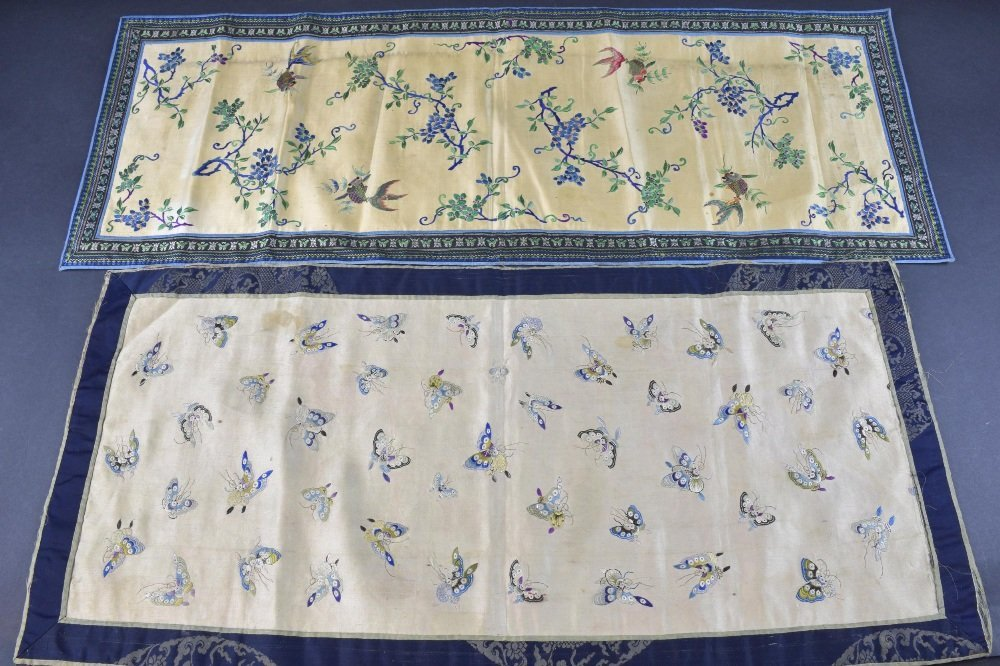 Two Chinese embroidered panels C 1900, one on cream - 2