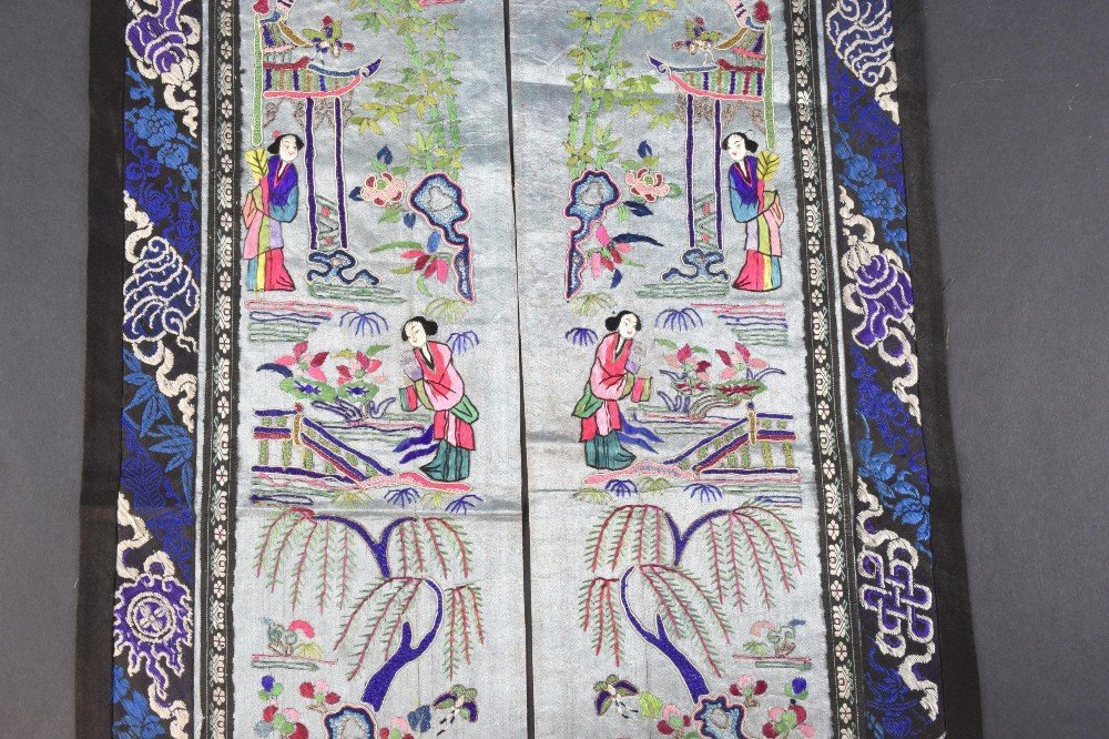 A pair  Chinese, Qing  sleeve panels each depicting two