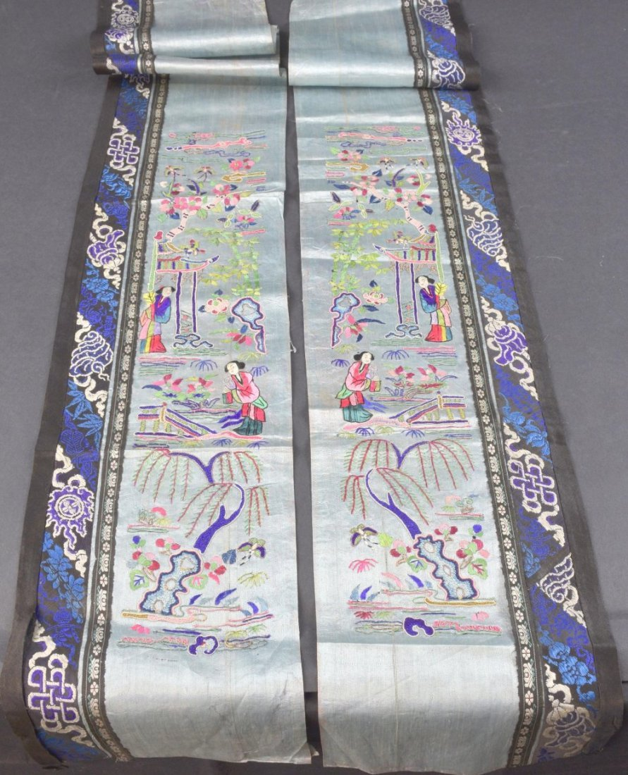 A pair  Chinese, Qing  sleeve panels each depicting two - 2
