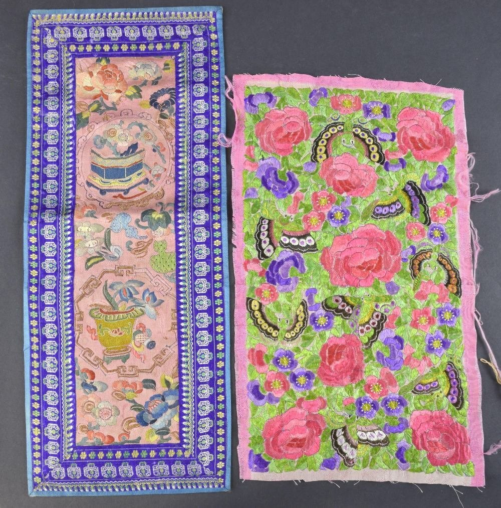 Two  19th C Chinese embroidered panels, one profusely