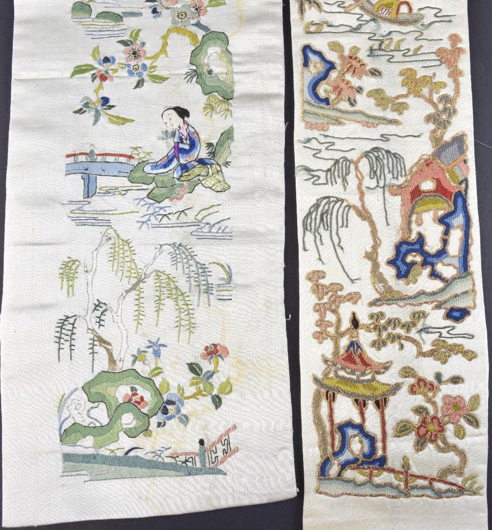 A Qing dynasty sleeve panel with scene of buildings and