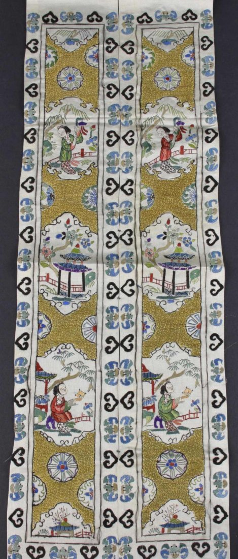 A pair of Chinese sleeve panels, profusely decorated in - 2