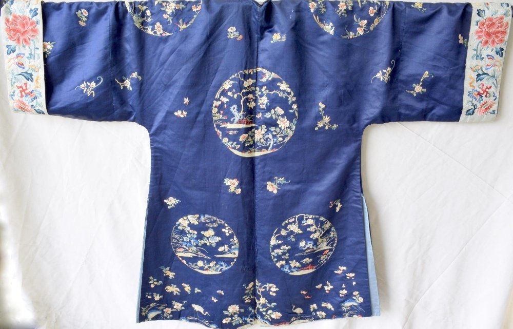 Chinese late Qing dynasty robe of dark blue silk, with
