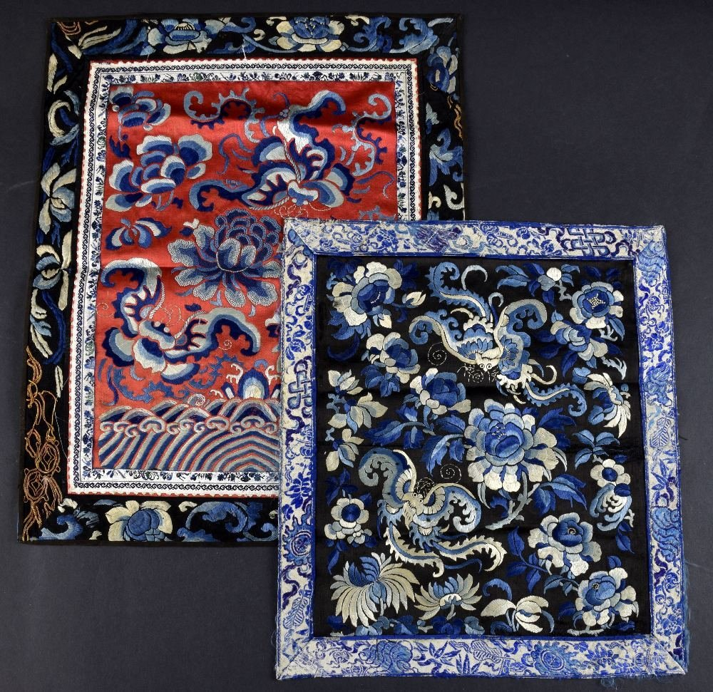 Two silk Chinese silk panels, one finely worked in