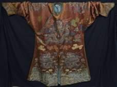 Fine Chinese 18th C Ji Fu Kesi dragon robe, in bronze