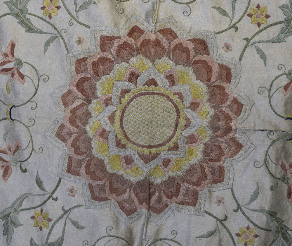 Chinese silk  bed cover embroidered in satin stitch