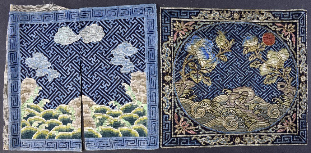 Two embroidered 'mandarin squares' both worked in silk