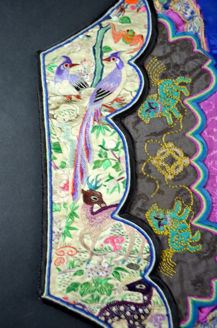 Two Chinese ladies hats, with fine embroidery depicting - 2