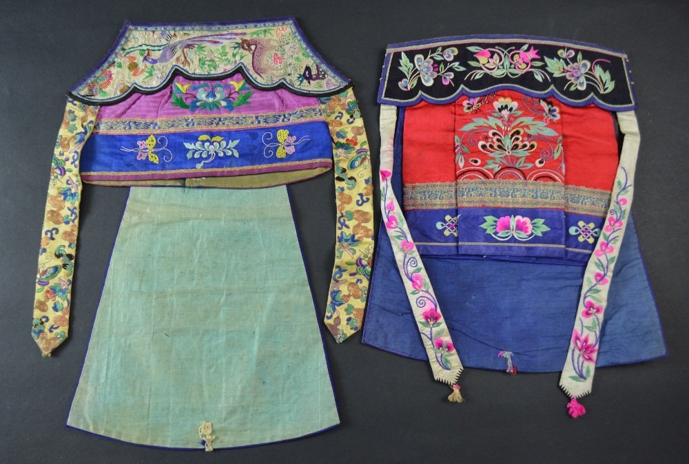 Two Chinese ladies hats, with fine embroidery depicting - 3