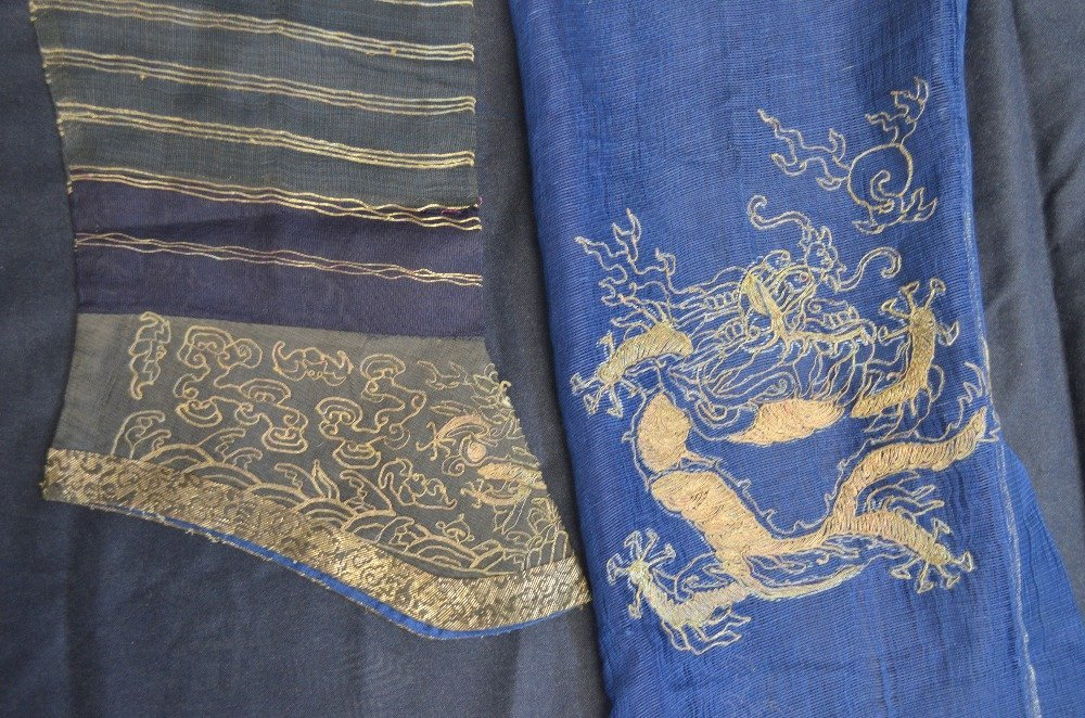 Part of a Chinese summer robe, with couched gilt - 4