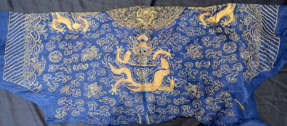 Part of a Chinese summer robe, with couched gilt - 5