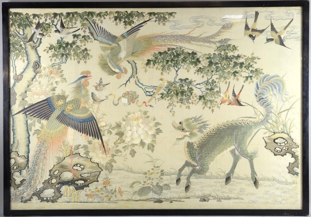 Chinese silkwork picture finely embroidered with two